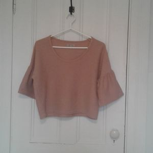 Madewell top crop with bell sleeves size Small